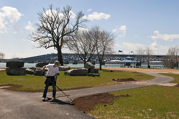 James Neiss/staff photographerNiagara Falls, NY - Joe Costa, a laborer with Laborers Local 91, works on the landscaping at LaSalle Park. Costa didn't know when the park would officially open, but said they only have a short list of items that need to be completed including some black topping, landscaping and installing the fishing docks.