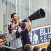 James Neiss/staff photographerNiagara Falls, NY - Mega-Megaphone: Niagara University hockey fans make some noise during a game against the AIC Yellow Jackets at Dwyer Arena.