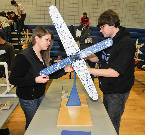 James Neiss/staff photographerSanborn, NY - Grand Island High School students Shannon Boreali and team mate Tyler Smith, work on their KidWind design project during competition at the 2012 Tech Wars at Niagara County Community College.