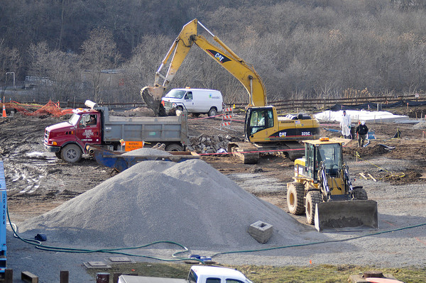 James Neiss/staff photographerNiagara Falls, NY - Crews work on the amphitheater project at Artpark where elevated levels of lead and sulfur dioxide have been found in the soil.