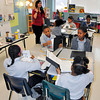 James Neiss/staff photographerTown of Niagara, NY - Substitute teacher Christie Granto works with 4th grade students at the Niagara Charter School.