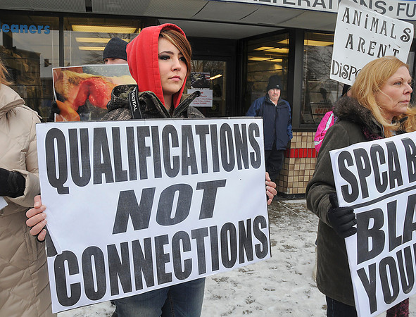 James Neiss/staff photographerNiagara Falls, NY - Morgan Dunbar of Animal Allies of WNy, left, organized a protest in front of his Main Street business of SPCA board member Russ Petrozzi, back ground at right, on Saturday.