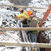 James Neiss/staff photographerNiagara Falls, NY - Utility workers from Custom Crews, from left, Eric Nau, Will Volmy and Alberto Gonzolez, lower telecommunication line in the 3900 block of Lewiston Road on Thursday.