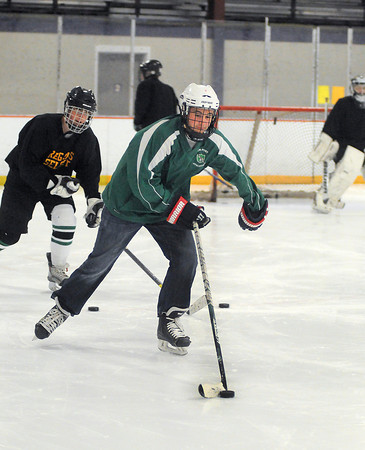 James Neiss/staff photographerLewiston, NY - Lewiston-Porter Hockey player Derek Stein does some drills during practice at Dwyer Arena.