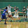 James Neiss/staff photographerLewiston, NY - Lewiston-Porter High School basketball players, from left #42 Max Braun, #55 Tyler Rueter, #2 Marcanthony Paonessa and #11 John Dziewitt, set up a defensive line against Kenmore West #22 Martin Bailey during the first quarter of basketball action in Lewiston.