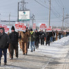 James Neiss/staff photographerNiagara Falls, NY - Niagara County building trades protest the lack of local hiring for a $430 million Norampac construction project.