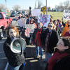 James Neiss/staff photographerTown of Niagara, NY - Morgan Dunbar, director of Animal Allies of WNY, rallies supporters to speak out against mismanagement, neglect and mass killings of healthy companion animals at the Niagara SPCA with protesters outside of the Lockport Road Rainbow Animal Shelter.