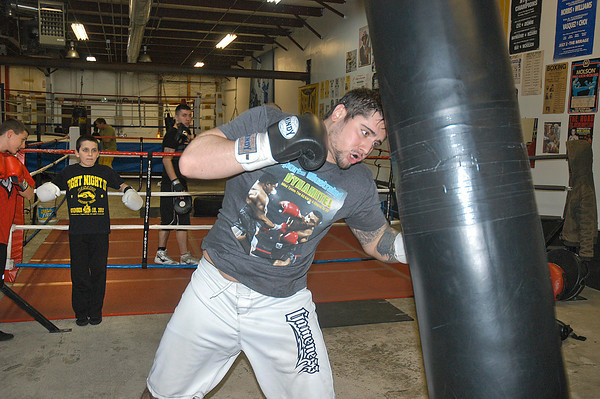 James Neiss/staff photographerNiagara Falls, NY - Golden Gloves super heavy weight Drew Graziadei practices at Casal's Boxing Club on Maryland Avenue in preparation for the Golden Gloves boxing tournament at the Burt Flickenger Center in Buffalo on Saturday.
