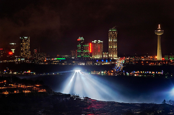 James Neiss/staff photographerNiagara Falls, NY - The night time views of the Niagara Falls Canada skyline are spectacular from the Giacomo Hotel's 19th floor Sky View Lounge. The lounge is open to the public 24/7.