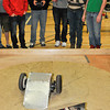 James Neiss/staff photographerSanborn, NY - Starpoint High School Students, from left, Brian Klementowski, Mike Fournier, Veikko Mielonen and Dalton Lemieux pit their Sumo Wrestling Robot on a competitor during the 2012 Tech Wars at Niagara County Community College.