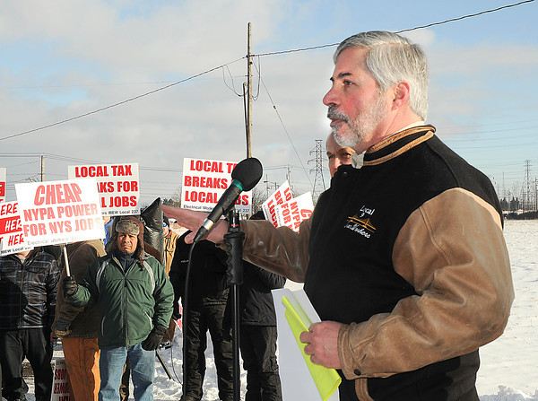 James Neiss/staff photographerNiagara Falls, NY - Thomas Pryce, business agent with Iron Workers Local Union No. 9 speaks to union members and media during a rally on Saturday. Niagara County building trades protest the lack of local hiring for a $430 million Norampac construction project.