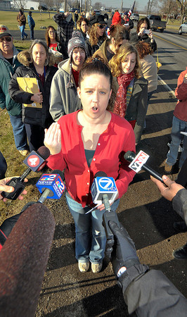 James Neiss/staff photographerTown of Niagara, NY - Former Niagara SPCA employee Melissa Voutour complains about the animal care practices at the animal shelter. Animal Allies of WNY rallied supporters for a protest rally, to speak out against mismanagement, neglect and mass killings of healthy companion animals at the Niagara SPCA, outside the Rainbow Animal Shelter on Lockport Road.