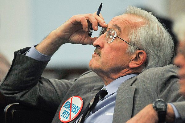 James Neiss/staff photographerNiagara Falls, NY - Attorney Peter A. Reese of Buffalo listens intently to what Mayor Paul Dyster had to say about the cities position regarding the Niagara SPCA during a City Council Meeting on Monday.