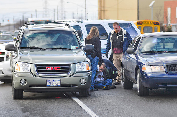 James Neiss/staff photographerNiagara Falls, NY - Niagara Falls Police called for an ambulance for a man after stopping a car being driven with a flat tire on Niagara Falls Boulevard just west of the I-190.