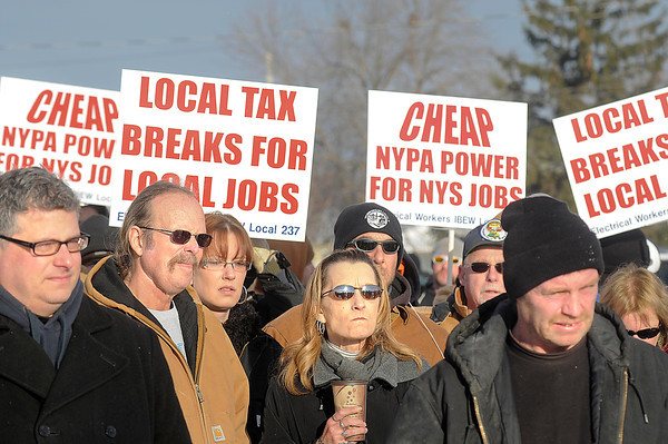James Neiss/staff photographerNiagara Falls, NY - Niagara County building trades protest the lack of local hiring for a $430 million Norampac construction project during a rally alongside Packard Road.