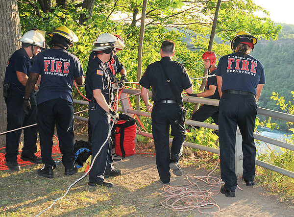 James Neiss/staff photographerNiagara Falls, NY - Niagara Falls Firefighters prepare to bring up a falling victim who fell approximately 60 - 70 feet down from the rim between Whirlpool and Devils Hole state parks.
