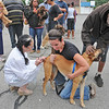 James Neiss/staff photographerNiagara Falls, NY - SPCA of Niagara board member and veterinarian Susan Persico gives Buster the dog a Parvo vaccination with the help of board member Rachel Stepien and Stan Fields, friend of the dogs owner. Niagara Falls residents were invited to the corner of 18th Street and Linwood Avenue on Thursday for the free shot sponsored by the SPCA of Niagara.