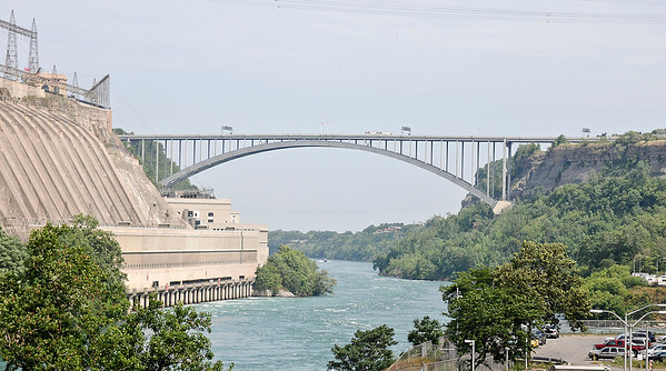 James Neiss/staff photographerLewiston, NY - Canadian and U.S officials held a press conference to announce technology upgrades at the Peace Bridge and Lewiston Queenston on Tuesday.
