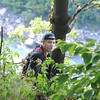 James Neiss/staff photographerNiagara Falls, NY - Niagara Falls Firefighter Joe Dimino went out on a ledge to try and spot the victim and rescue crews already in the Niagara Gorge. Rescuers came to the aid of a victim who fell approximately 60 - 70 feet down from the rim between Whirlpool and Devils Hole state parks.