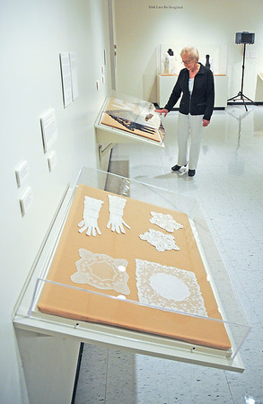James Neiss/staff photographerLewiston, NY - Ceil Rodino of Lewiston checks out the art exhibit (RE-)MAKING IRISH LACE at the Castellani Art Museum of Niagara University. The exhibit features Irish styles of lace, old and new, historical and reimagined and runs through December 2.