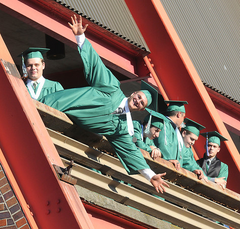 James Neiss/staff photographerLewiston, NY - Bryan White of the class of 2012 said a big hello to friends and family he spotted coming to his graduation ceremony at Artpark where Lewiston-Porter High School held its 61st Commencement.