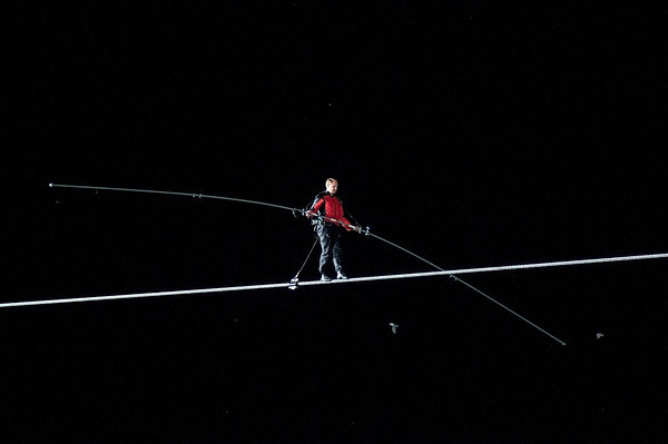 James Neiss/staff photographerNiagara Falls, NY - Daredevil wire-walker Nik Wallenda made history by walking his high-wire across the Niagara Gorge from the U.S. to Candada.