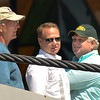 James Neiss/staff photographerNiagara Falls, NY - Daredevil Nik Wallenda, center, his father & safety coordinator Terry Troffer, right , and uncle & chief engineer Mike Troffer, left, have a discussion as tension is applied to the 2 inch practice wire at the Seneca Niagara Casino and Hotel on May 11. Officials say the Wallenda team is confident the wire will be in place for his historic walk on June 15.