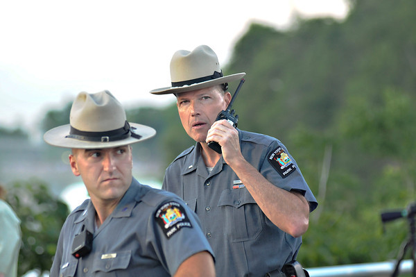 James Neiss/staff photographerNiagara Falls, NY - Parks Police officer Justin Story and Lt. Patrick Moriarty respond to a call while on patrol before Nik Wallenda's walk.