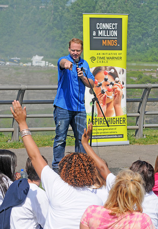 James Neiss/staff photographerNiagara Falls, NY - Daredevil wire-walker Nik Wallenda takes questions from area students during a discussion on the science and innovation behind his Niagara Falls Walk at Terrapin Point. The event was sponsored by Time Warner Cable and included students from LaSalle Preparatory School in Niagara Falls and St. Peter's R.C. School in Lewiston.