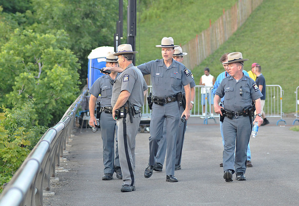 James Neiss/staff photographerNiagara Falls, NY - Parks Police Lt. Patrick Moriarty directs his team at Terrapin Point while on patrol before Nik Wallenda's walk.