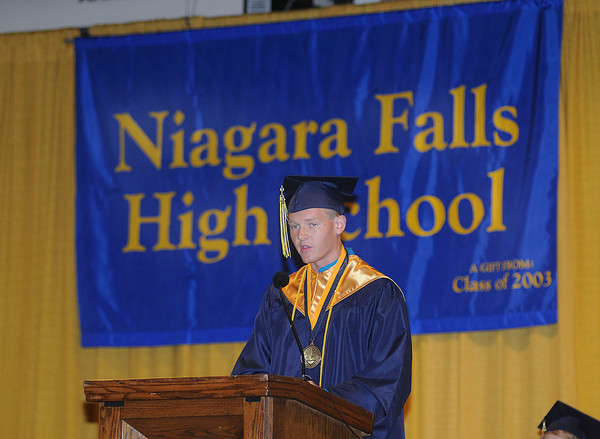 James Neiss/staff photographerNiagara Falls, NY - The Niagara Falls High School class of 2012 Valedictorian Michael LeGault says a few words during the NFHS 12th Commencement ceremony at the Conference Center Niagara Falls.
