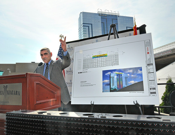 James Neiss/staff photographerNiagara Falls, NY - Robert Mele, chairman of the Seneca Gaming Corporation announced that a 108-foot wide, 20-foot tall high-definition LED video sign will be built on top of the Seneca Niagara Casino Hotel facing Canada. The $1.9 Million LED sign will be constructed using 140 giant LED panels and should be completed later this month.