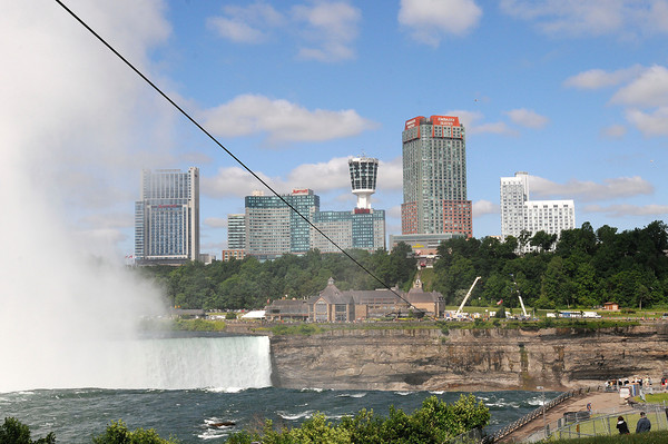 James Neiss/staff photographerNiagara Falls, NY - Wire-Walker Nik Wallenda's steel cable was put in place overnight Wednesday from Goat Island to Niagara Falls, Ontario.
