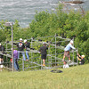 James Neiss/staff photographerNiagara Falls, NY - Workers build the platform wire-walker Nik Wallenda will use to access his steel cable after the cable was put in place overnight Wednesday, from Goat Island to Niagara Falls, Ontario.