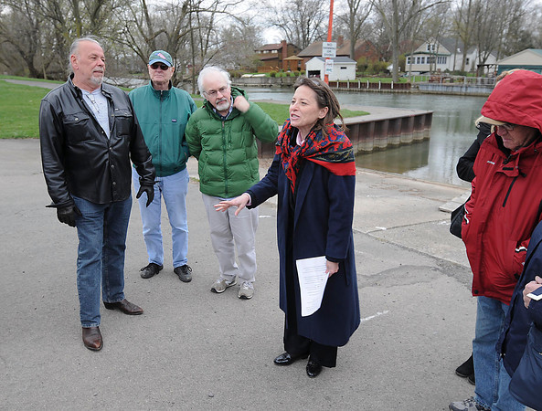 James Neiss/staff photographerNiagara Falls, NY - Surrounded by supporters Amy Hope Witryol announces her candidacy for State Senate at the Griffon Park boat docks on Buffalo Avenue.