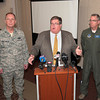 James Neiss/staff photographerNiagara Falls, NY - Niagara Military Affairs Council Vice Chairman John A. Cooper Sr.,center, Col. Allan Swartzmiller, commander of the 914th Airlift Wing, left, and Col. Jim McCready, commander of the 107th Airlift Wing, right, were on had to answer questions for the media after a meeting with representatives from NIMAC and the chamber of commerce at the Heritage Center at the Niagara Falls Air Base on Monday.  NIMAC Chairman Merrell Lane listens at far left.