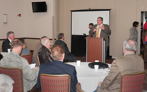 James Neiss/staff photographerNiagara Falls, NY - Niagara Military Affairs Council Vice Chairman John A. Cooper Sr.,speaks to representatives from NIMAC and the chamber of commerce at the Heritage Center at the Niagara Falls Air Base on Monday.