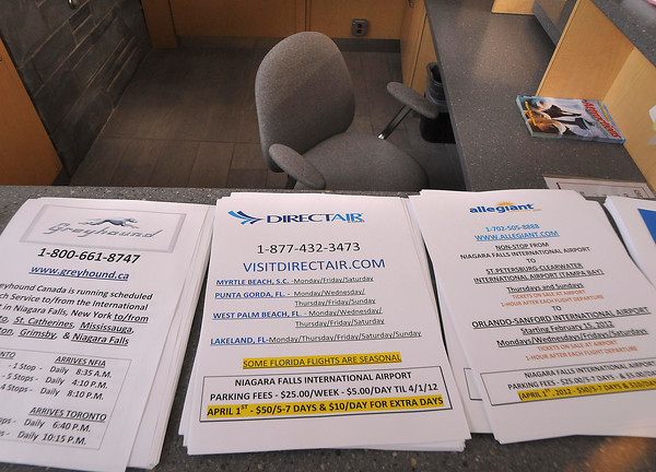 ames Neiss/staff photographerNiagara Falls, NY - DirectAir promotional flyers were the only information available to passengers left stranded at Niagara Falls International Airport after their flights were canceled without explanation Monday evening.