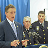James Neiss/staff photographerNiagara Falls, NY - Niagara County's top cops joined New York State Lieutenant Governor Robert J. Duffy to hail Governor Cuomo's recently passed law that expands the New York State DNA Databank during a press conference at the Niagara Falls Public Safety Building. At right are Niagara Falls Police Superintendent John Chella and Niagara County Sheriff James Voutour.