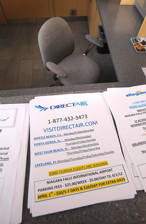 James Neiss/staff photographerNiagara Falls, NY - DirectAir promotional flyers were the only information available to passengers left stranded at Niagara Falls International Airport after their flights were canceled without explanation Monday evening.