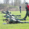 James Neiss/staff photographerPendleton, NY - U.S. Border Patrol Officer Martin Coombs is in the first position for mandatory quarterly tactical training under the guidance of instructors Raymond Mandel, far left and Raul Tamayo, right, at the Tonawanda's Sportsman Club shooting range.
