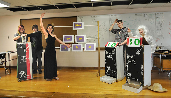 "James Neiss/staff photographerSanborn, NY - Niagara Wheatfield High School students, from left, Sarah Abbey, Cody Weigel, Alexis Vallieu, Justin Sczepczenski and Cristina Gifford practice their skit ""You Make the Call,"" for the Odyssey of the Mind competition this Saturday in Binghamton."