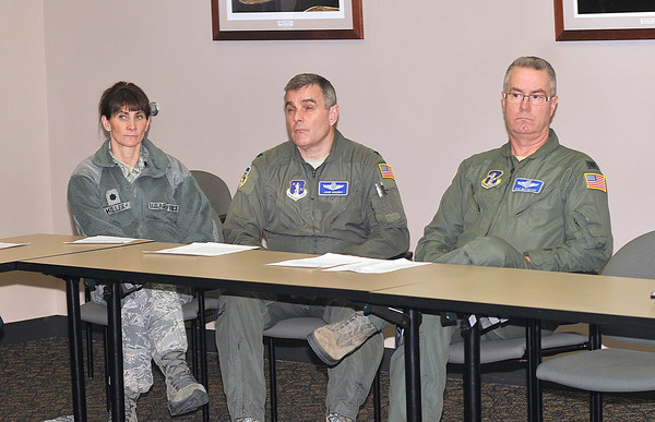 James Neiss/staff photographerSanborn, NY - 107th Air Wing Executive Officer Deanna Miller, Vice Wing Officer John Higgins and Jim McCready, commander of the 107th Air National Guard at the Niagara Falls Air Reserve Station, listen as members of the Niagara Military Affairs Council comment on the Department of Defense announcement to downsize the 107th.