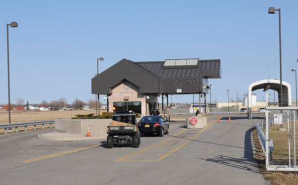 James Neiss/staff photographerTown of Niagara, NY - The Tuscarora Road gate to the Niagara Air Reserve Base reopened after being closed for part of the day Wednesday.  A suspicious package at the base caused the closure.