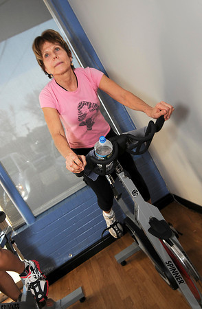James Neiss/staff photographerLewiston, NY - Hari Kless of Lewiston, makes it look easy during a spinning class where the cyclists are participating in a Tour de France theme cycling project at Niagara Health & Fitness facility in Lewiston.