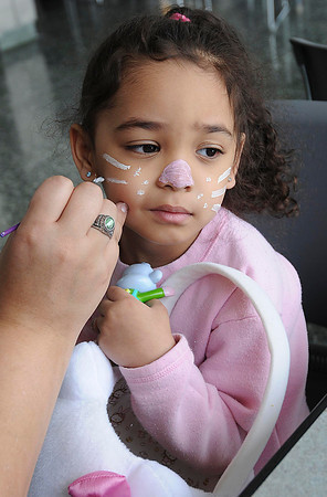 James Neiss/staff photographerLewiston, NY - Little Mariana Tryon, 4, of the Town of Niagara, got a perfect bunny face painted on during the Eggstravaganza at The New York Power Authority's Niagara Power Project Power Vista.