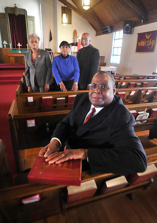 James Neiss/staff photographerNiagara Falls, NY - The New Hope Baptist Church is celebrating their 75th Anniversary Jubilee. From left are, member Bennie Williamson, deaconess Mary Louise Jones, deacon Charles martin and Rev. Harvey L. Kelley.