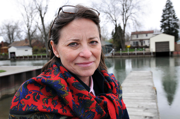 James Neiss/staff photographerNiagara Falls, NY - Amy Hope Witryol announces her candidacy for State Senate at the Griffon Park boat docks on Buffalo Avenue.