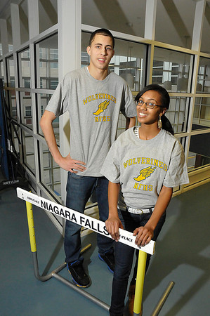 James Neiss/staff photographerNiagara Falls, NY - Niagara Falls High School indoor track athletes Brandon Joyce and Sharae Smith have qualified for the state championship meet this weekend.