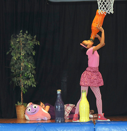 James Neiss/staff photographerWheatfield, NY - The Theatre of Youth presented the skit Kids Fitness Challenge for students at St. Peter's Lutheran. The actors touched on the subjects of over indulging in eating, sleeping, playing video games and drinking sugar saturated soda pops.
